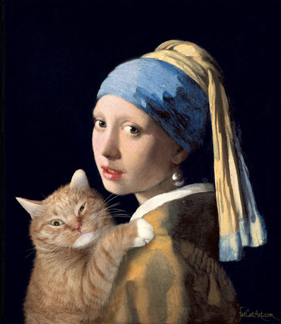 Vermeer - Girl with a pearl earring with a ginger cat by Svetlana Petrova
