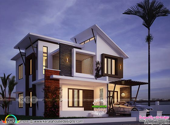 1870 square feet 4 BHK contemporary style home plan