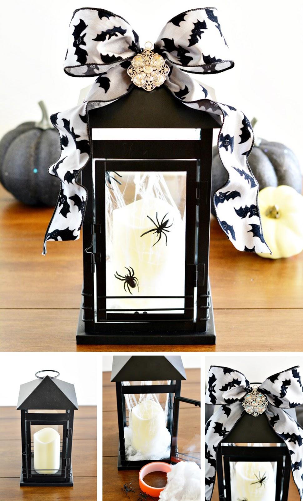 diy para decorar en halloween con farolillo glamuroso y terrorifico en blanco y negro fácil y económico