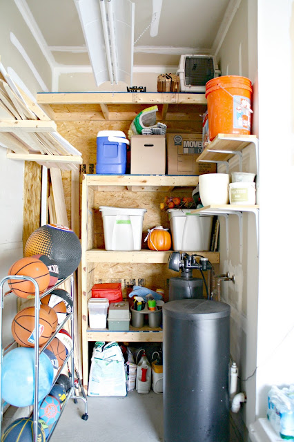 Built in plywood shelving in garage