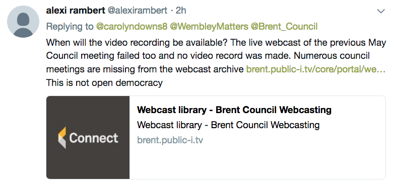 WEMBLEY MATTERS: Brent Council live streaming fails again