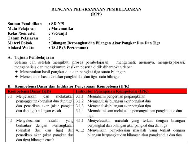 RPP Matematika Kelas 5 Semester 1 dan 2 K13 Revisi 2017 ...