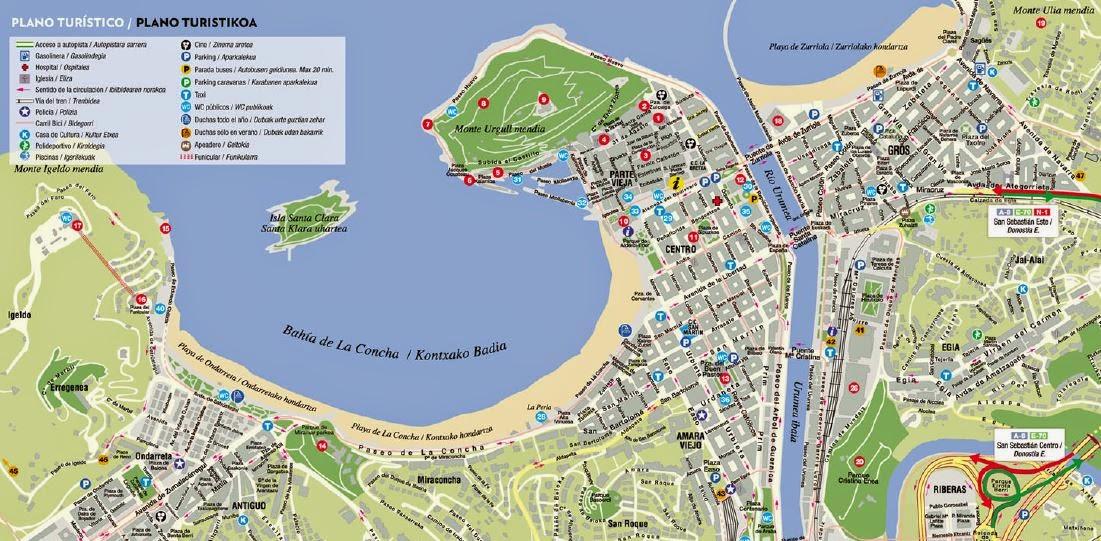 Mapa esquemático de San Sebastián