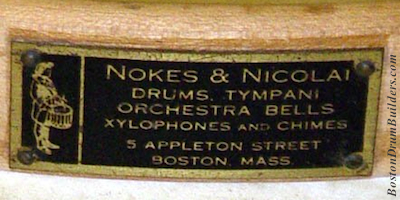 Nokes & Nicolai drum badge, circa 1920 - 1926
