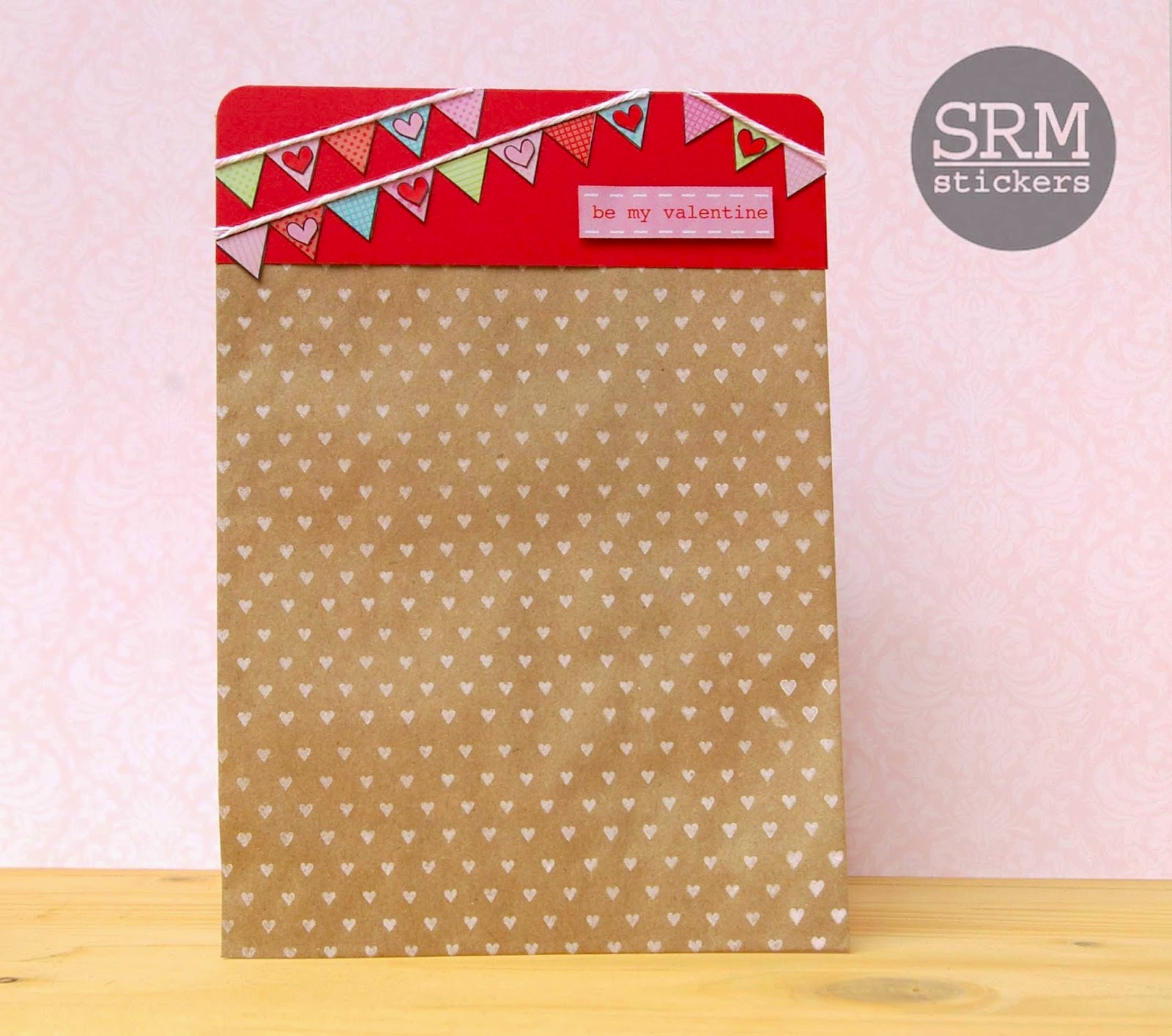 SRM Stickers Blog - Valentine Banners Treat Bag by Lorena - #kraft #bag #stamps #stickers #borders #twine #valentine #treat