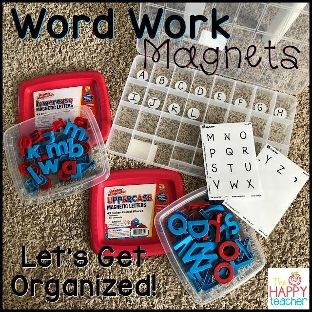 Let's get organized. Keep letter magnets sorted and organized for word work.