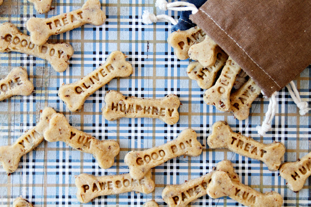Bone shaped homemade dog treats stamped with dog names