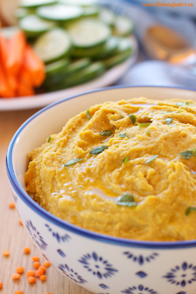 Red Lentil Curry Hummus - Try this deliciously healthy vegetarian recipe! www.thebusybaker.ca