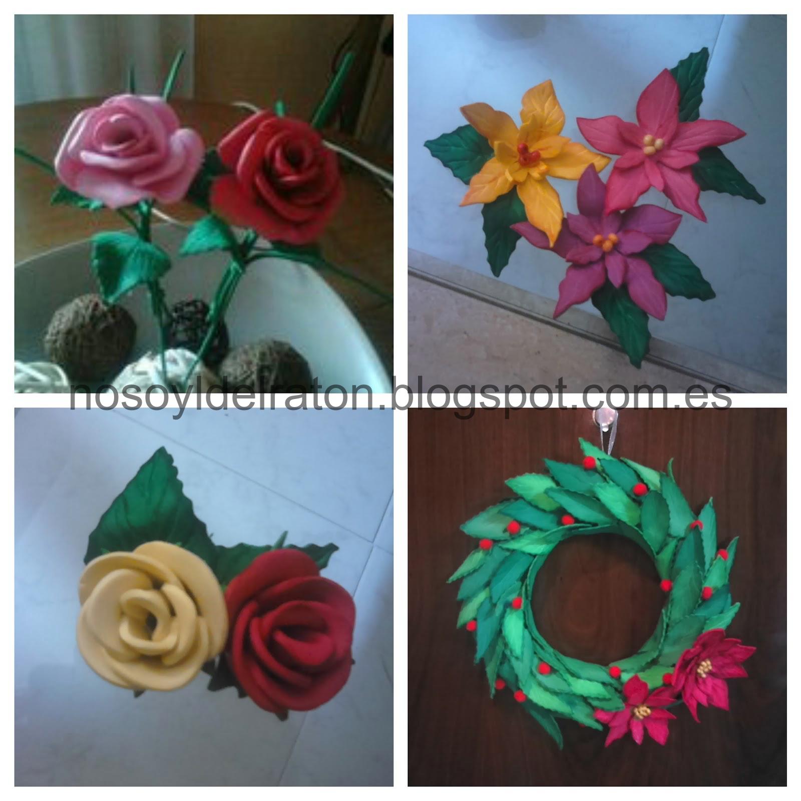Susanas Flores De Goma Eva Corona De Navidad Para Puerta
