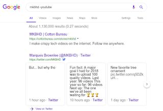 البحث عن ماركيز براونلى MKBHD وطلب نتائج ليست من اليوتيوب