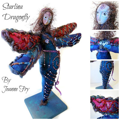 Dragonfly Folk Art Doll by Jeanne Fry
