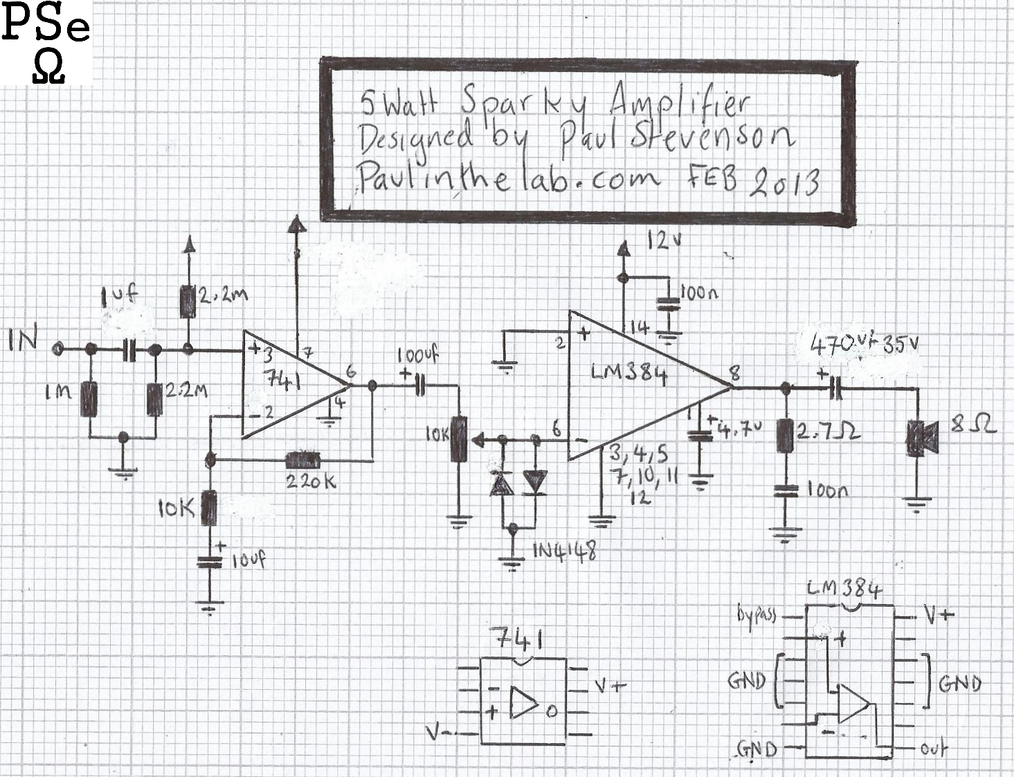 Paul In The Lab: Sparky 5 Watt Amplifier Stripboard