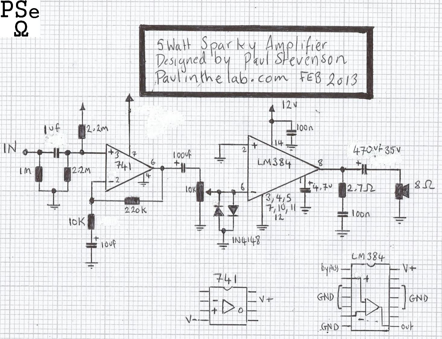 paul in the lab  sparky 5 watt amplifier stripboard veroboard layout