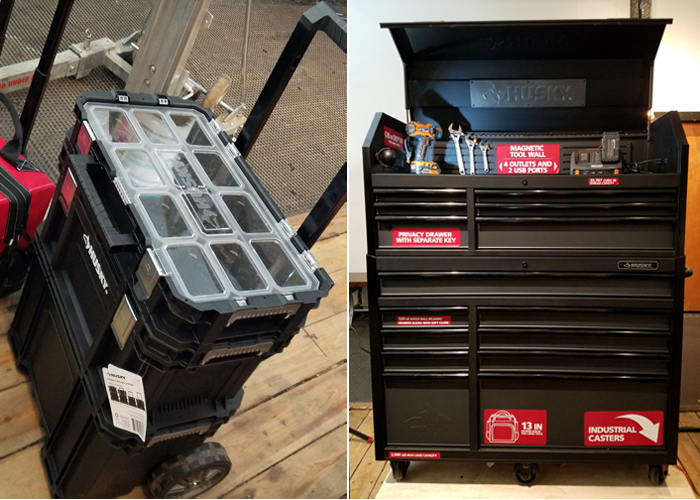Husky rolling system and 15 drawer tool chest
