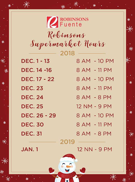 Holiday Mall Hours 2018 Robinsons Fuente