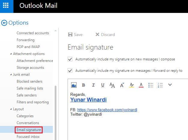 how to change signature in outlook.com