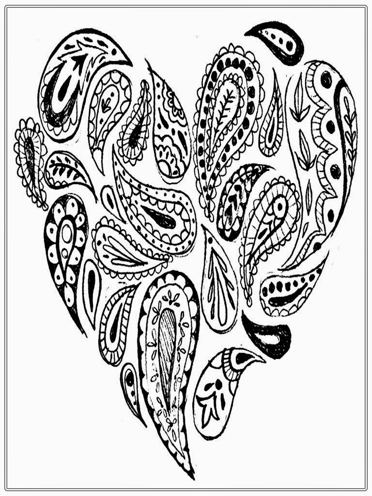 Heart Pictures To Color For Adult