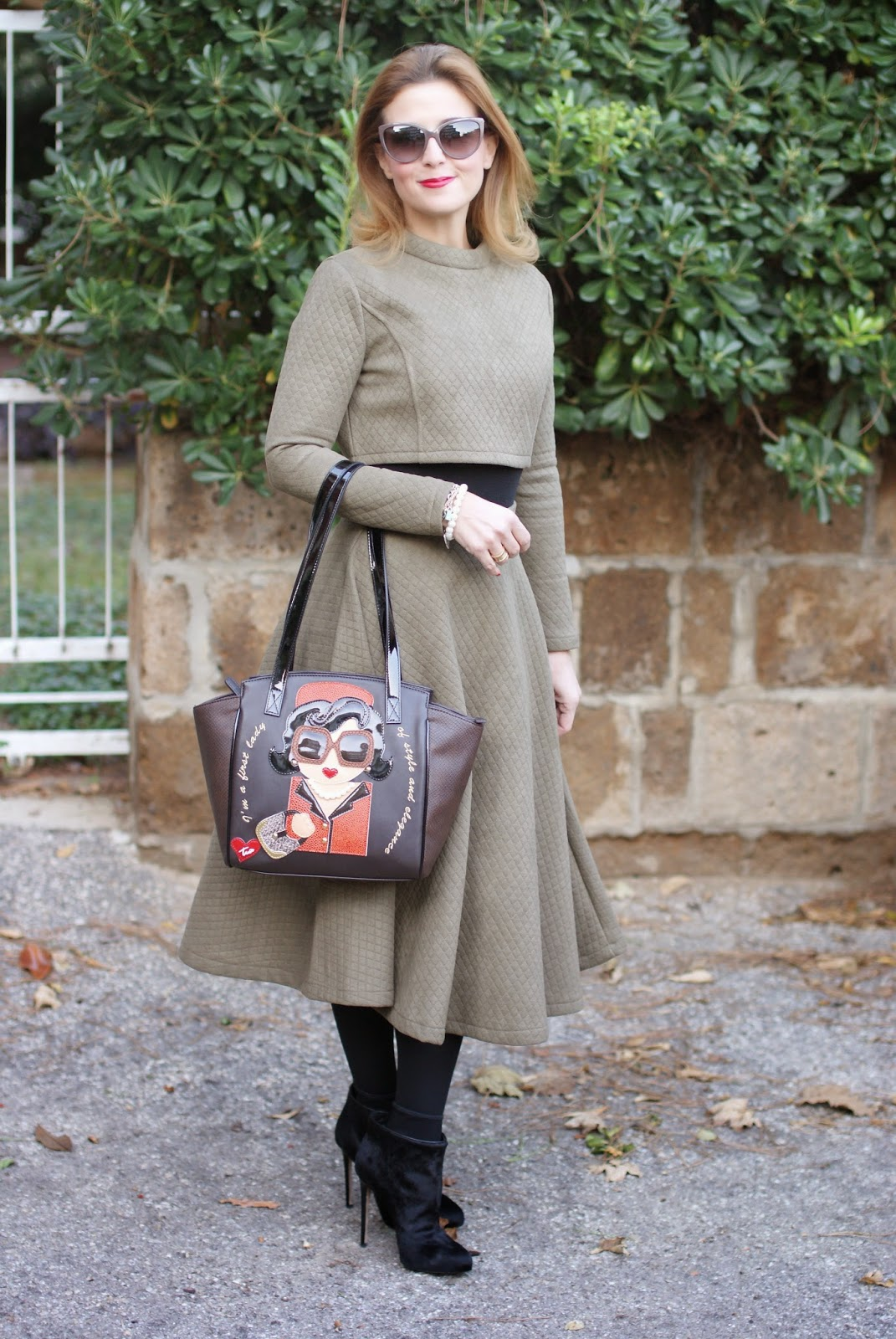 Quilted crop top and midi skirt, Braccialini Jackie Kennedy bag, Le Silla ankle boots, Fashion and Cookies, fashion blogger