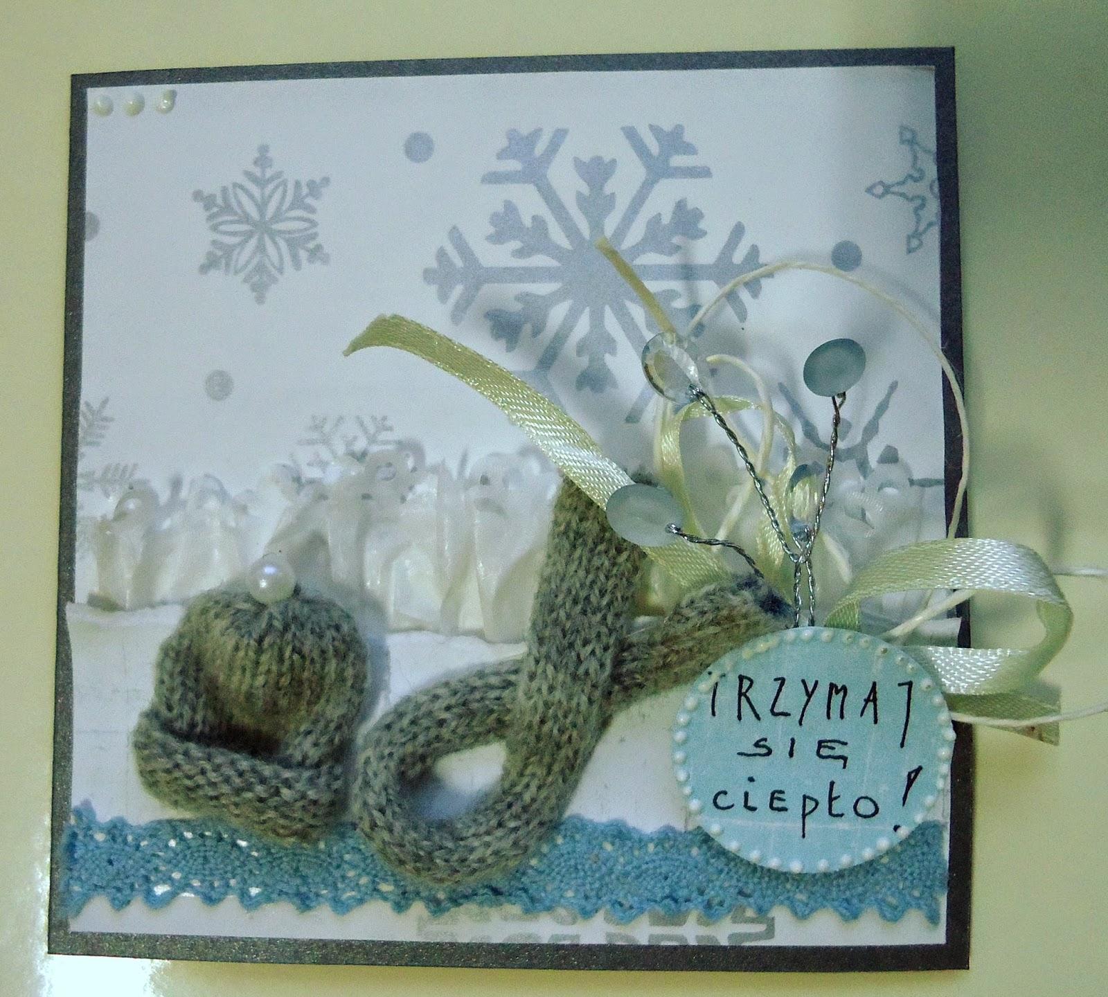 zimowa kartka z gorącymi życzeniami