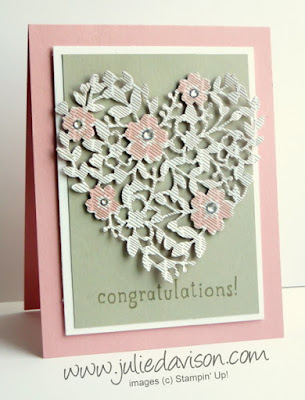 2016 Stampin' Up! Occasions Catalog Sneak Peek: Bloomin' Heart Thinlit Wedding Card #stampinup www.juliedavison.com