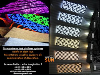 Tissu lumineux tissé de fibre optique : panneau lumineux - MIDLIGHTSUN