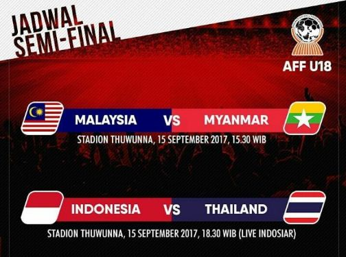 JADWAL SEMIFINAL AFF U-18 2017 MYANMAR