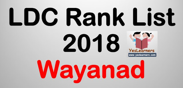 LDC Rank List 2018 - Wayanad