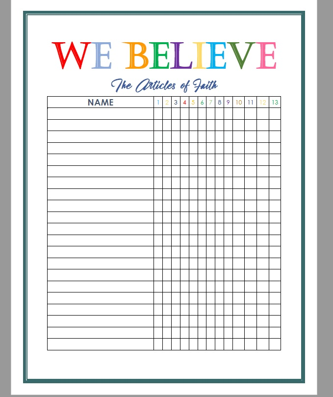 image relating to Articles of Faith Printable titled Recently Finished: Written content of Religion Tracker -- No cost Printable