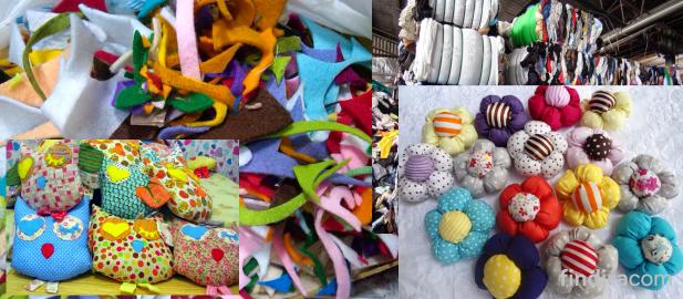 limbah kain dan hasil produk dari limbah kain