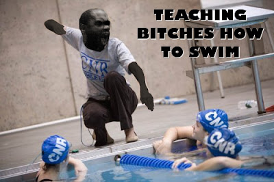 "MC RIDE yelling ""teaching bitches how to swim"" to white women in a pool"
