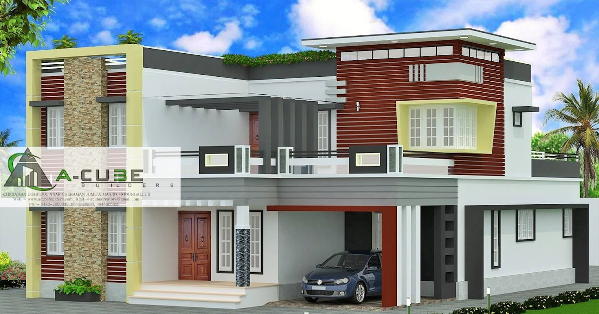 Unique modern contemporary house design kerala house for Modern house 8 part 10