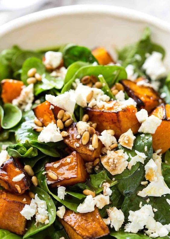 Roast Pumpkin, Spinach And Feta Salad