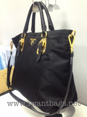 I Want Bags backup  Prada BN1902 Tessuto Nylon Top Handle Bag- Black c3ed7f426865d
