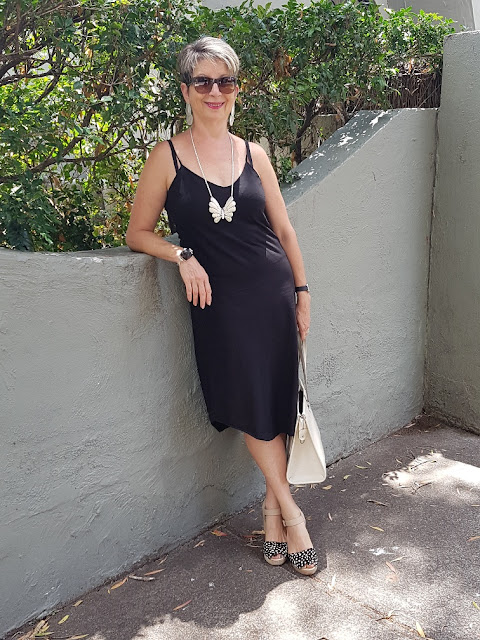 SIMPLE BLACK SLIP DRESS TWO WAYS