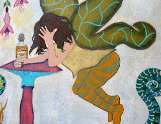 Fairy Nightcap Original Contemporary Folk Painting by Jeanne Fry