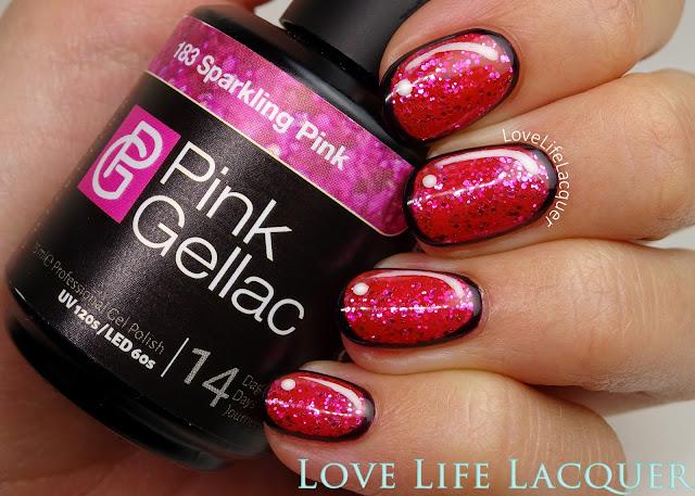 Pink Gellac Cartoon nail art