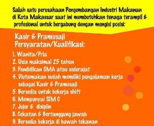 Lowongan Kerja Kasir dan Pramusaji di Makassar