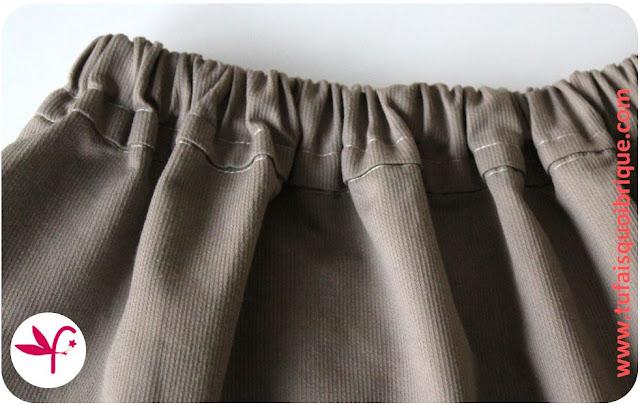 jupe dos élastiqué pour fille de 2 à 10 ans - Détail dos