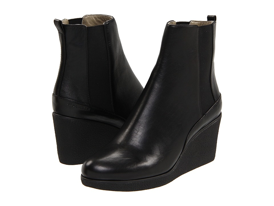 288105cbf57e Black Wedge Ankle Leather Boots by Jil Sander