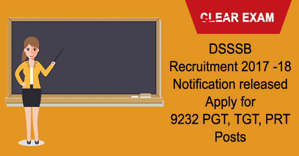 DSSSB Teachers Recruitment Notification