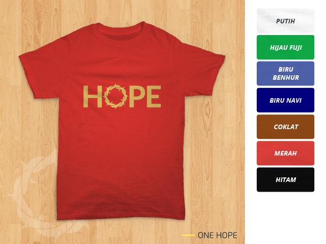 Tampilan kaos 'One Hope' berwarna merah