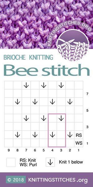 Brioche Knitting, Bee stitch chart