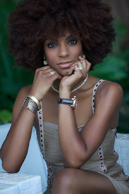 brown afro hairstyle