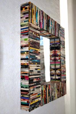 Espejo diy con  con libros reciclados