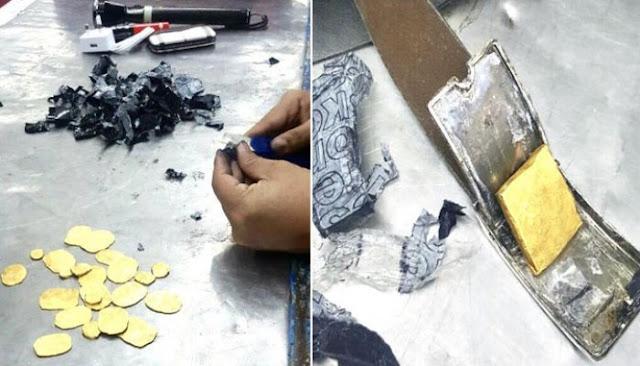 শাহজালালে কোমরের বেল্ট ও ট্রলি ব্যাগের রডে সোনা