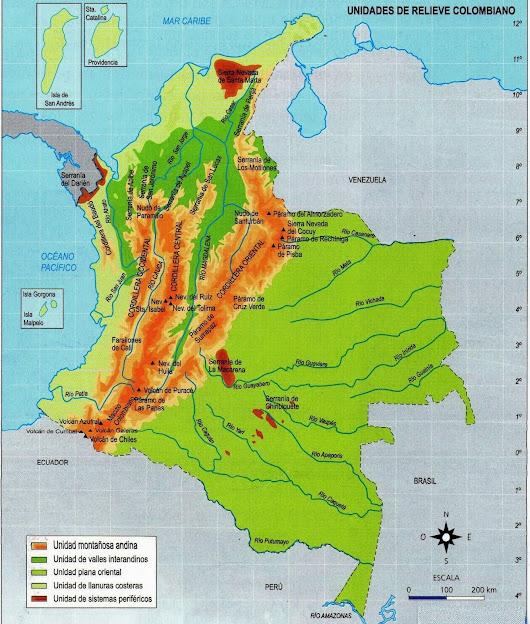 Mapa Relieve de Colombia