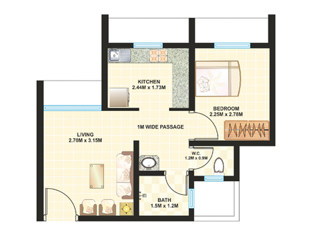 Dosti Desire Floor Plan 1 BHK