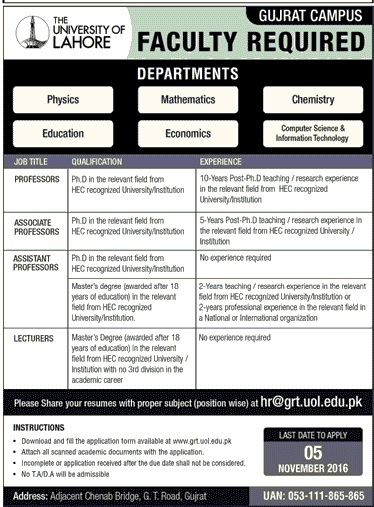 Jobs Lecturers Jobs in UOL