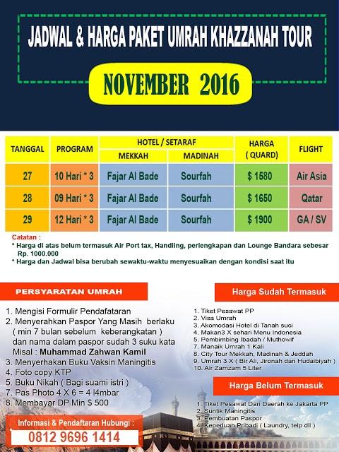 Jadwal dan harga Paket Umroh November 2016