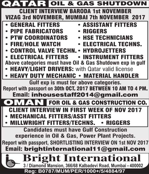 Shutdown Jobs in Qatar | Oil & Gas Construction Project Jobs in Oman | Bright International Mumbai